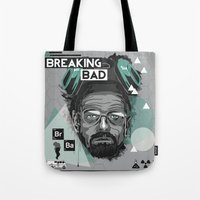 breaking bad Tote Bags featuring Breaking Bad by Sophie Bland