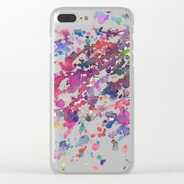 Bright Rainbow watercolor splatter painting Clear iPhone Case