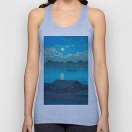 Vintage Japanese Woodblock Print Fishing Village At Night Fishing Boat Moonlight Unisex Tank Top