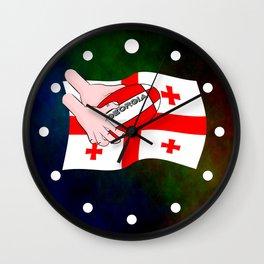 Rugby Georgia Flag Wall Clock