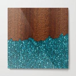 Aqua blue sparkles glitter rustic brown wood Metal Print