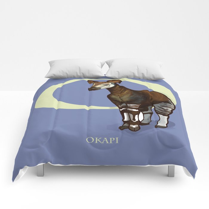 O Is For Okapi Under Reciated Animals Abc Nursery Decor Purple Unusual Comforters