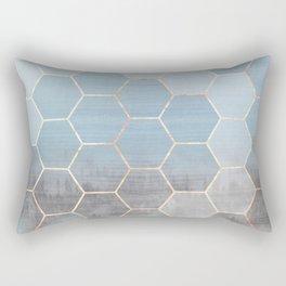 honeycomb winter forest // copper & blue Rectangular Pillow