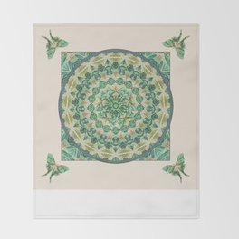 Luna Moth Meditation Mandala Throw Blanket