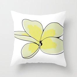 Frangipani Plumeria Flower Throw Pillow