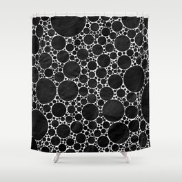 Modern Black and WHITE Textured Bubble Design Shower Curtain