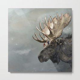 Eerik the Sami Shaman and Hirvi the Moose Metal Print