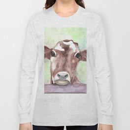 Cow portrait, farmhouse, country home, farm animal Long Sleeve T-shirt