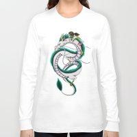 chihiro Long Sleeve T-shirts featuring Haku and Chihiro by Mrs Storm