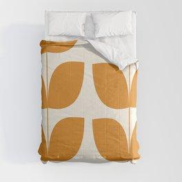 Mid Century Modern Leaves Orange Comforters
