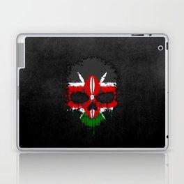 Flag of Kenya on a Chaotic Splatter Skull Laptop & iPad Skin