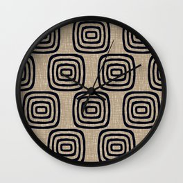 Mid Century Modern Mudcloth Concentric Pattern 771 Black and Beige Wall Clock