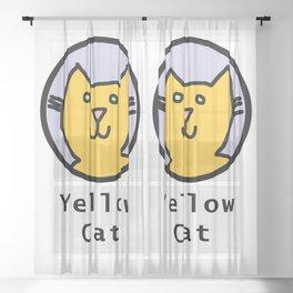 Portrait of Yellow Cat Sheer Curtain