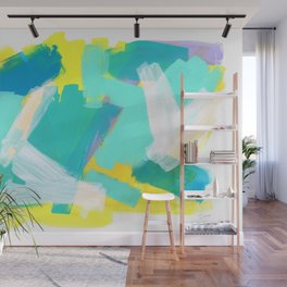 Be Kind, Be OK - mint modern mint abstract painting pastel colors Wall Mural