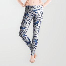 Delft Blue Humming Birds & Leaves Pattern Leggings