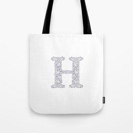 Floral Letter H Tote Bag