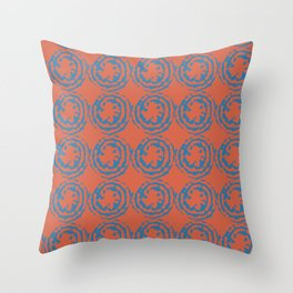 Handprinted Blue Circles on Orange background Throw Pillow