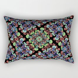 Colorful Stylized Floral Collage Rectangular Pillow