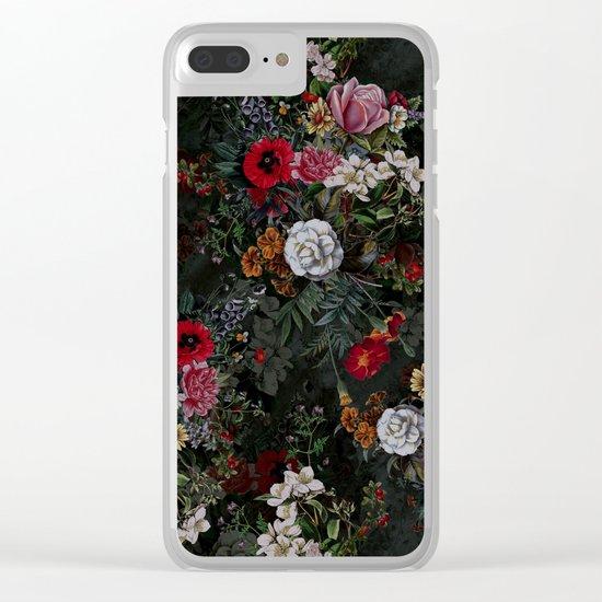 Botanical Flowers IV Dark Clear iPhone Case