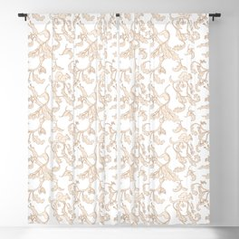 Squirrels and Acorns Pattern (cream on white) Blackout Curtain
