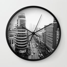 Gran Via in Madrid Wall Clock