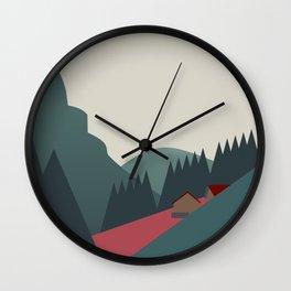 mountain huts Wall Clock