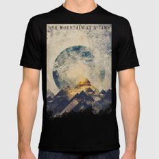 One mountain at a time Mens Fitted Tee Black MEDIUM
