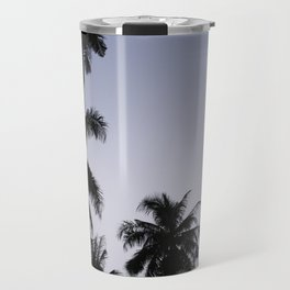 Tropical palm trees in sunset blue Travel Mug