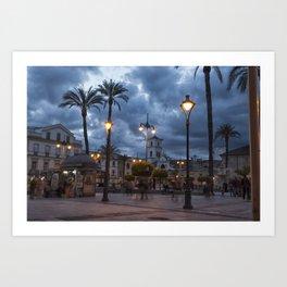 Sundown, Plaza Mayor Merida Spain Art Print