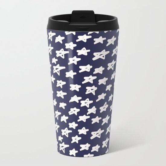 Stars on blue background Metal Travel Mug