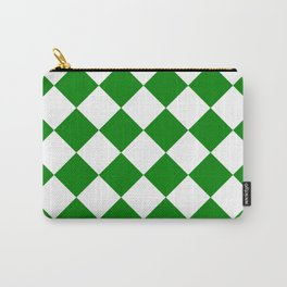 Large Diamonds - White and Green Carry-All Pouch
