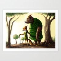 robin hood Art Prints featuring Robin Hood & Little John by Jehzbell Black