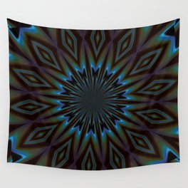 Blue and Brown Floral Abstract Wall Tapestry