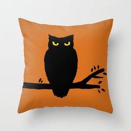Spooky Halloween Owl Throw Pillow