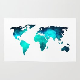 World Map Space Galaxy Stars in Turquoise Rug