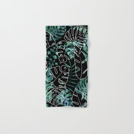 Dark tropical leaves pattern Hand & Bath Towel