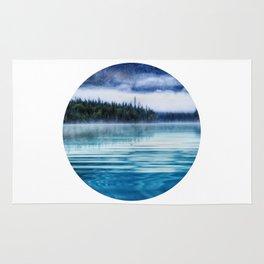 Blue Tranquil Lake Scenery Circle Rug