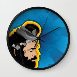 Boho Indian Sage Illustration Wall Clock