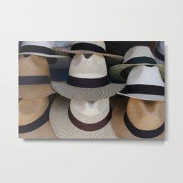 Patterned Panama Hats Metal Print