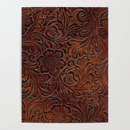 Burnished Rich Brown Tooled Leather Poster