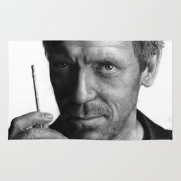 Dr. House pencil drawing fanart Rug