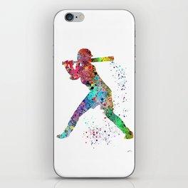 Baseball Softball Player Sports Art Print Watercolor Print Girl's softball iPhone Skin