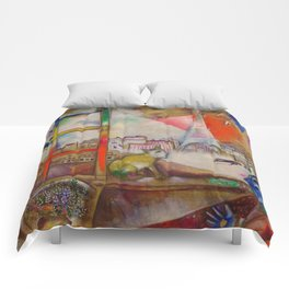 'Paris Through the Window' by Marc Chagall Comforters