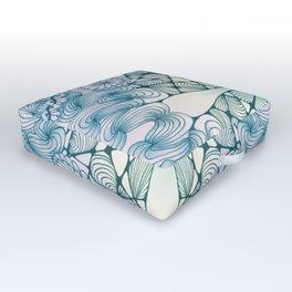 Blue Wash Zentangled Cross Tile Doodle Design Outdoor Floor Cushion