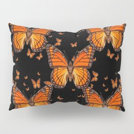 ORANGE MONARCH BUTTERFLIES BLACK MONTAGE Pillow Sham