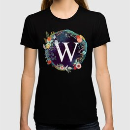 Personalized Monogram Initial Letter W Floral Wreath Artwork T-shirt