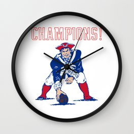 Vintage Retro New England Football Super Bowl Champions Wall Clock