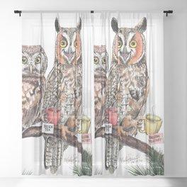 Tea owls , funny owl tea time painting by Holly Simental Sheer Curtain