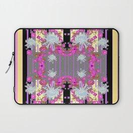 Yellow Art White Spider Mums Pink Flowers Garden Art Laptop Sleeve