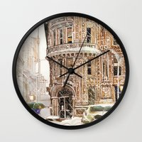 takmaj Wall Clocks featuring Winter in NYC by takmaj